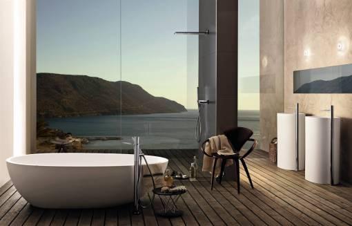 Baño de diseño, en vivienda unifamiliar con ducha y bañera